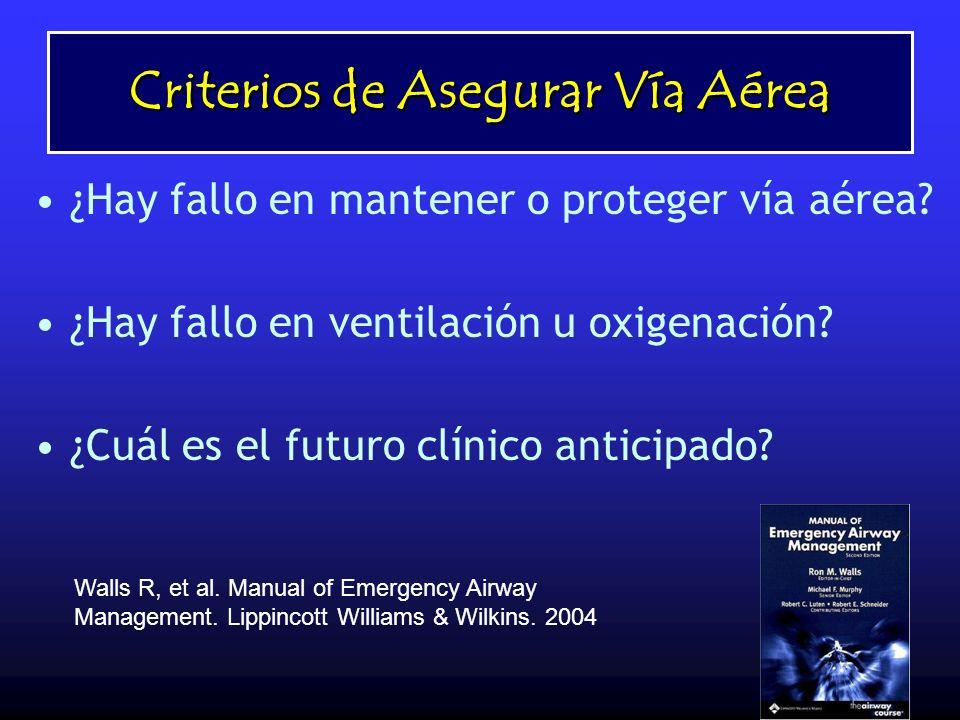 Caso ¿Hay fallo en mantener o proteger vía aérea? ¿Hay fallo en ventilación u oxigenación? ¿Cuál es el futuro clínico anticipado? Walls R, et al. Manu