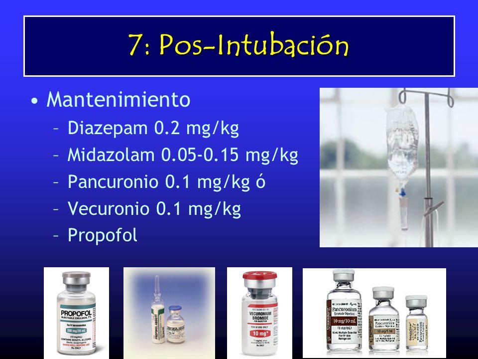 7: Pos-Intubación Mantenimiento –Diazepam 0.2 mg/kg –Midazolam 0.05-0.15 mg/kg –Pancuronio 0.1 mg/kg ó –Vecuronio 0.1 mg/kg –Propofol