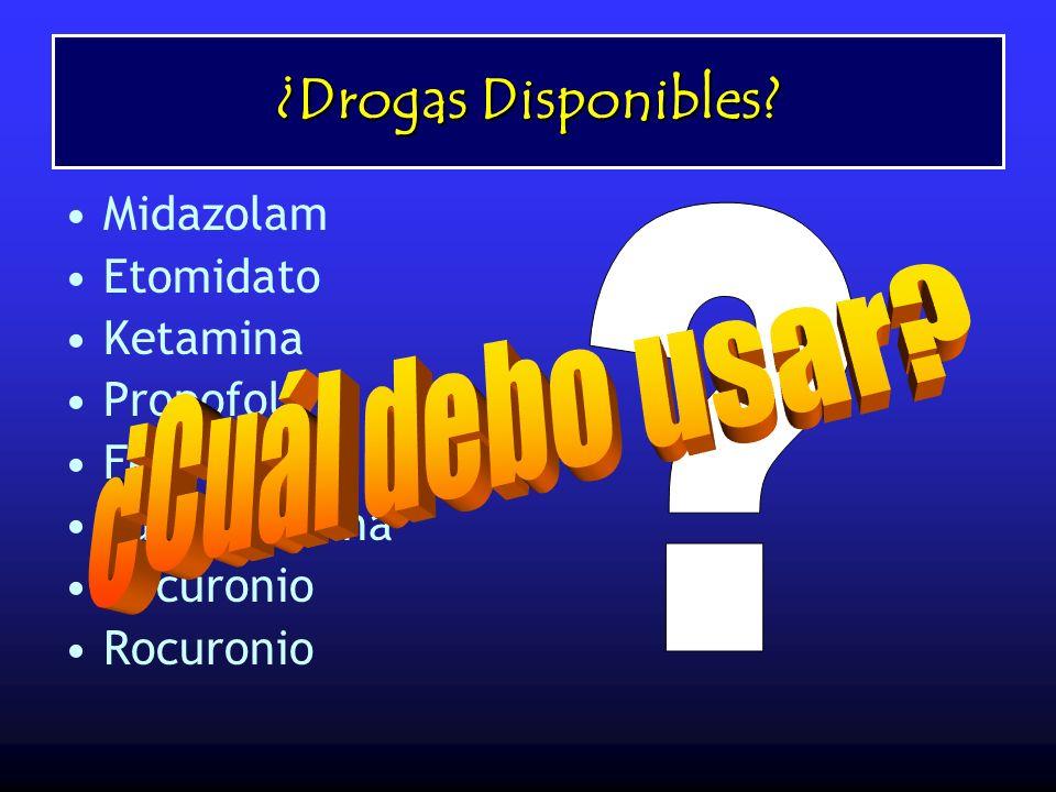 ¿Drogas Disponibles? Midazolam Etomidato Ketamina Propofol Fentanil Succinilcolina Vecuronio Rocuronio