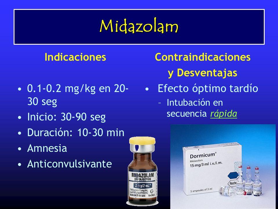 Midazolam Indicaciones 0.1-0.2 mg/kg en 20- 30 seg Inicio: 30-90 seg Duración: 10-30 min Amnesia Anticonvulsivante Contraindicaciones y Desventajas Ef