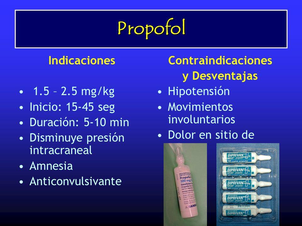 Propofol Indicaciones 1.5 – 2.5 mg/kg Inicio: 15-45 seg Duración: 5-10 min Disminuye presión intracraneal Amnesia Anticonvulsivante Contraindicaciones