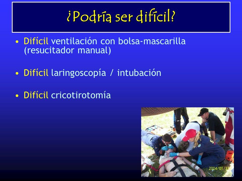 ¿Podría ser difícil? Difícil ventilación con bolsa-mascarilla (resucitador manual) Difícil laringoscopía / intubación Difícil cricotirotomía