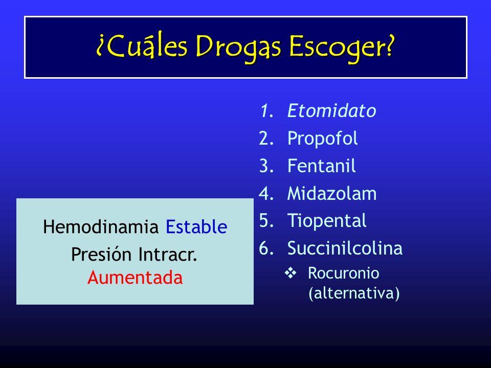 ¿Cuáles Drogas Escoger? 1.Etomidato 2.Propofol 3.Fentanil 4.Midazolam 5.Tiopental 6.Succinilcolina Rocuronio (alternativa) Hemodinamia Estable Presión