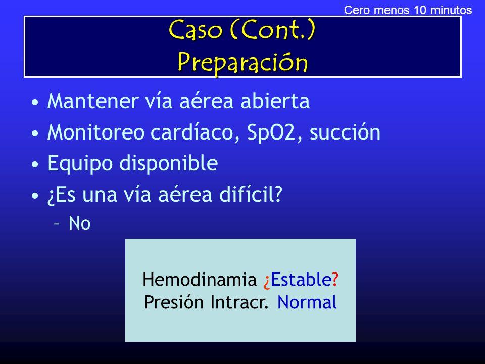 Caso (Cont.) Preparación Mantener vía aérea abierta Monitoreo cardíaco, SpO2, succión Equipo disponible ¿Es una vía aérea difícil? –No Cero menos 10 m