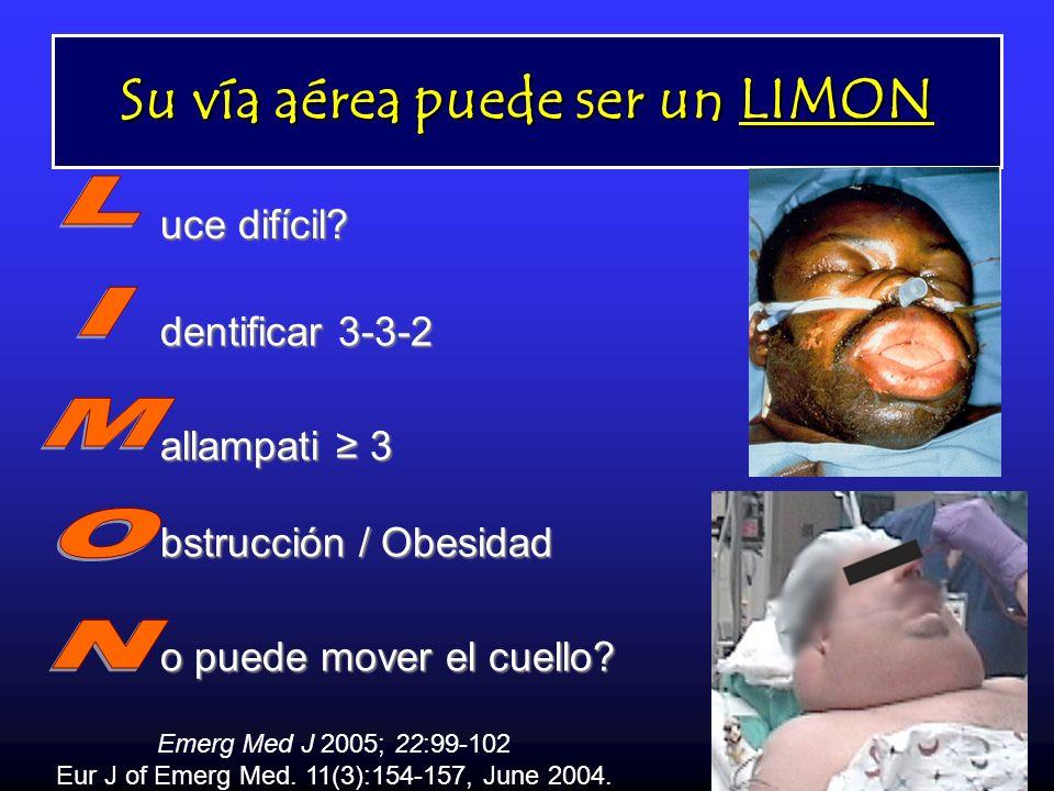 Su vía aérea puede ser un LIMON uce difícil? dentificar 3-3-2 allampati 3 bstrucción / Obesidad o puede mover el cuello? Emerg Med J 2005; 22:99-102 E