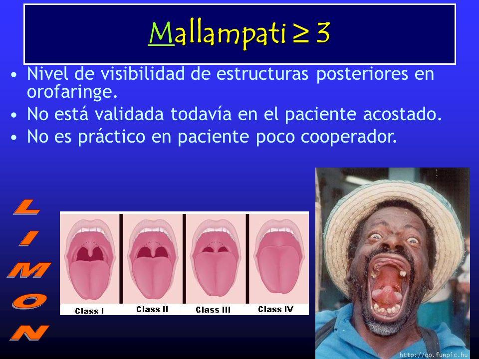 Mallampati 3 Nivel de visibilidad de estructuras posteriores en orofaringe. No está validada todavía en el paciente acostado. No es práctico en pacien