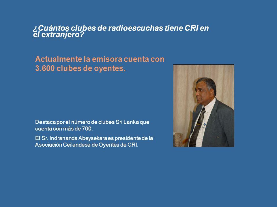 ¿Cuántos clubes de radioescuchas tiene CRI en el extranjero? Actualmente la emisora cuenta con 3.600 clubes de oyentes. Destaca por el número de clube