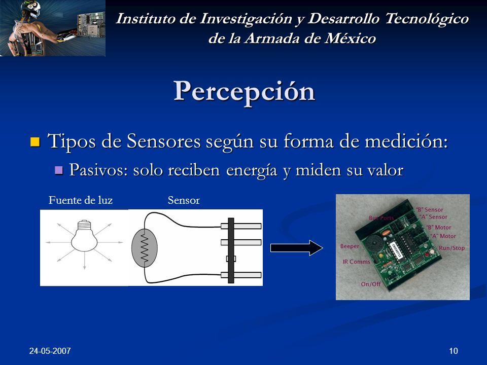 Instituto de Investigación y Desarrollo Tecnológico de la Armada de México 24-05-2007 10 Percepción Tipos de Sensores según su forma de medición: Tipo
