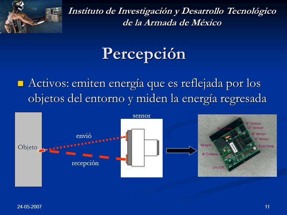 Instituto de Investigación y Desarrollo Tecnológico de la Armada de México 24-05-2007 11 Percepción Activos: emiten energía que es reflejada por los objetos del entorno y miden la energía regresada Activos: emiten energía que es reflejada por los objetos del entorno y miden la energía regresada Objeto envió recepción sensor