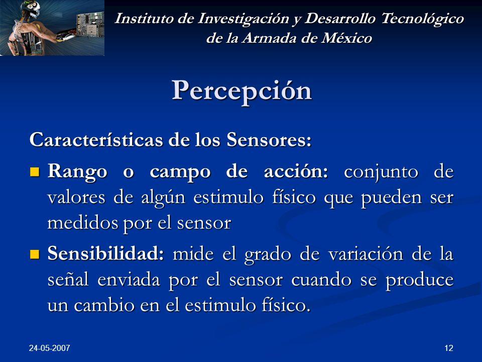 Instituto de Investigación y Desarrollo Tecnológico de la Armada de México 24-05-2007 12 Percepción Características de los Sensores: Rango o campo de