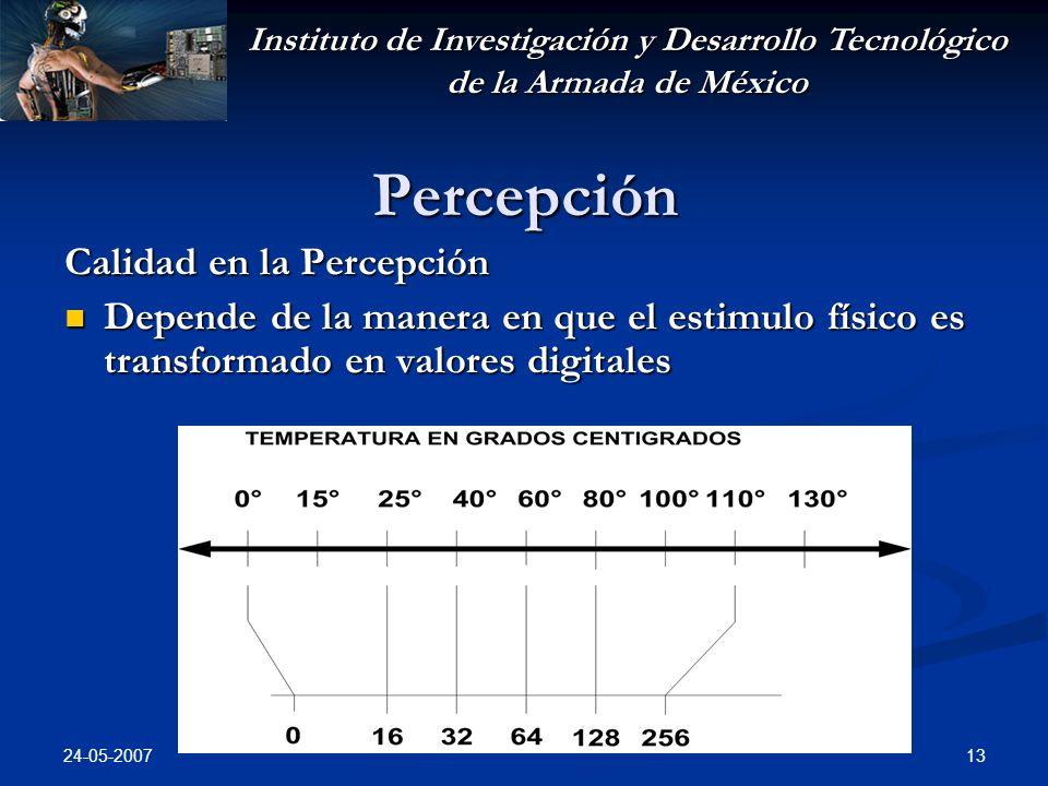 Instituto de Investigación y Desarrollo Tecnológico de la Armada de México 24-05-2007 13 Percepción Calidad en la Percepción Depende de la manera en q