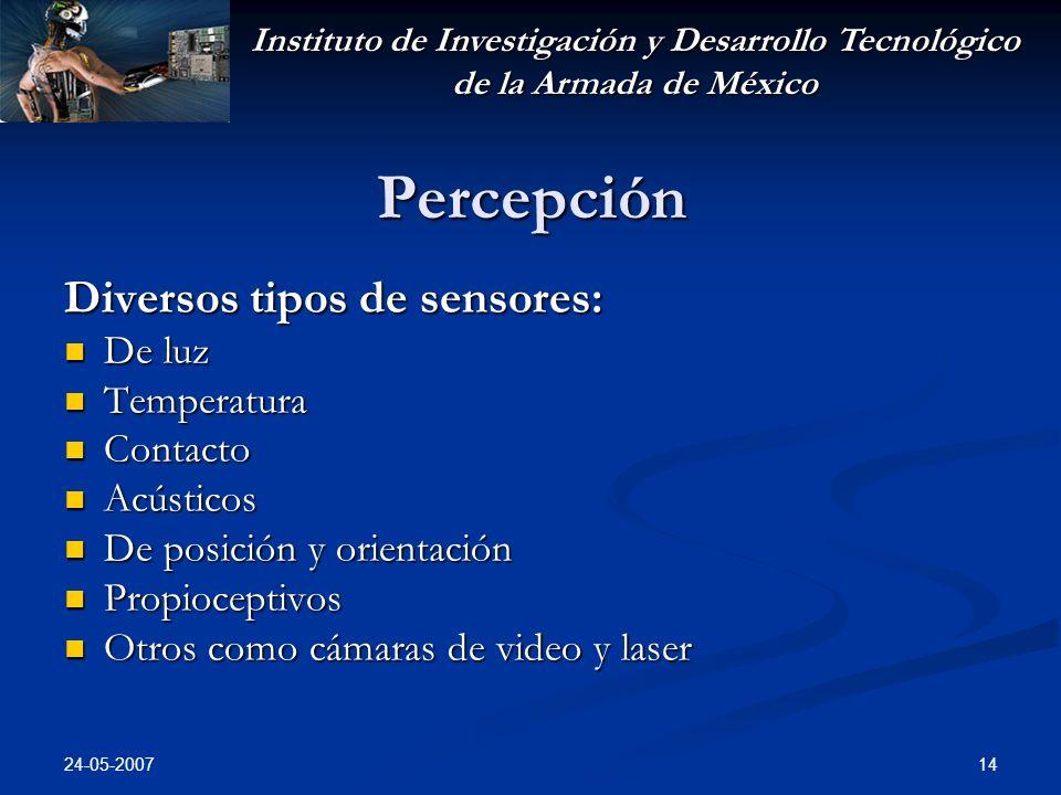 Instituto de Investigación y Desarrollo Tecnológico de la Armada de México 24-05-2007 14 Percepción Diversos tipos de sensores: De luz De luz Temperat