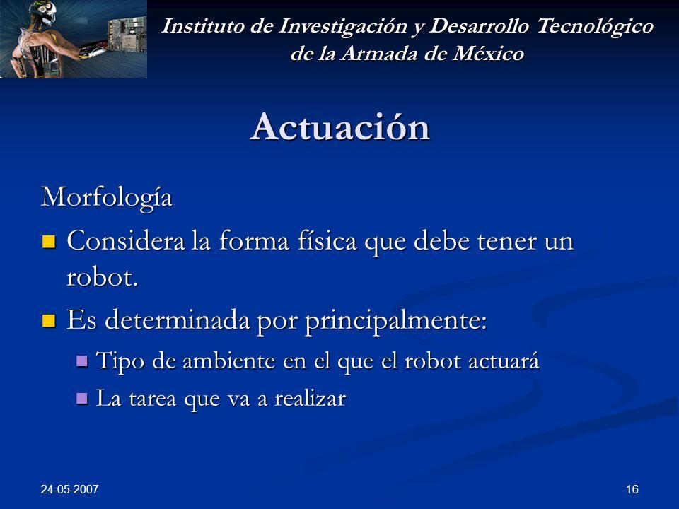 Instituto de Investigación y Desarrollo Tecnológico de la Armada de México 24-05-2007 16 Actuación Morfología Considera la forma física que debe tener