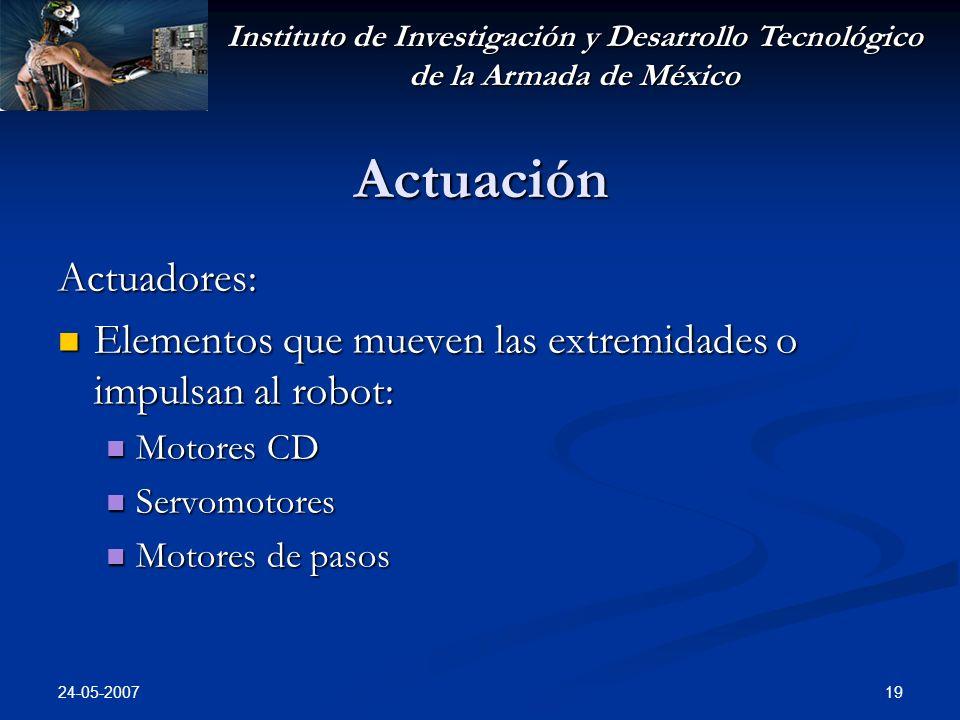 Instituto de Investigación y Desarrollo Tecnológico de la Armada de México 24-05-2007 19 Actuación Actuadores: Elementos que mueven las extremidades o