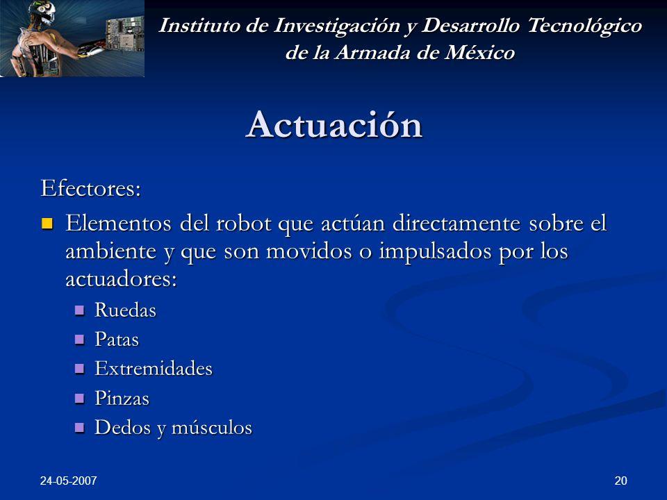 Instituto de Investigación y Desarrollo Tecnológico de la Armada de México 24-05-2007 20 Actuación Efectores: Elementos del robot que actúan directame