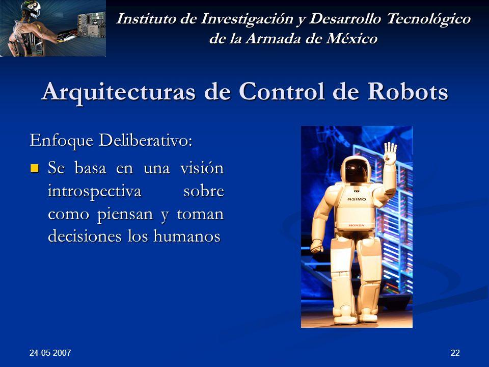 Instituto de Investigación y Desarrollo Tecnológico de la Armada de México 24-05-2007 22 Arquitecturas de Control de Robots Enfoque Deliberativo: Se basa en una visión introspectiva sobre como piensan y toman decisiones los humanos Se basa en una visión introspectiva sobre como piensan y toman decisiones los humanos