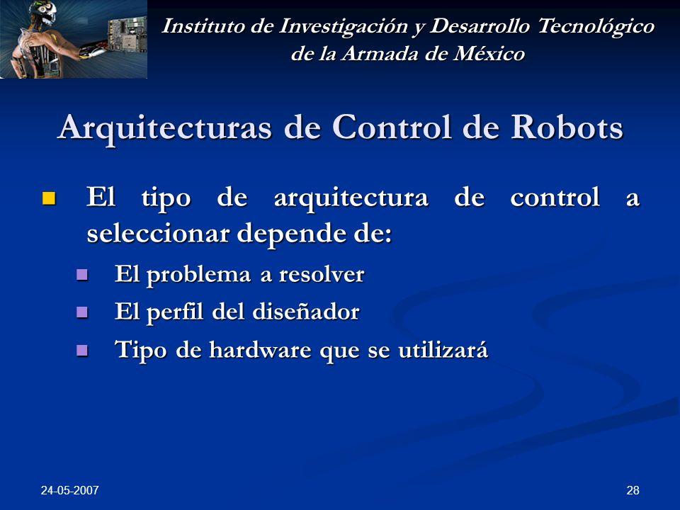Instituto de Investigación y Desarrollo Tecnológico de la Armada de México 24-05-2007 28 Arquitecturas de Control de Robots El tipo de arquitectura de