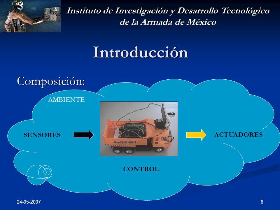 Instituto de Investigación y Desarrollo Tecnológico de la Armada de México 24-05-2007 6 Introducción Composición: CONTROL SENSORES ACTUADORES AMBIENTE