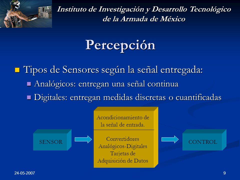 Instituto de Investigación y Desarrollo Tecnológico de la Armada de México 24-05-2007 10 Percepción Tipos de Sensores según su forma de medición: Tipos de Sensores según su forma de medición: Pasivos: solo reciben energía y miden su valor Pasivos: solo reciben energía y miden su valor Fuente de luzSensor