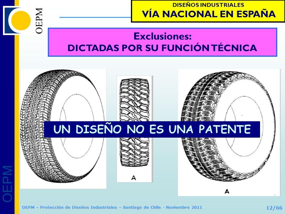 OEPM 12/66 Protección de Diseños Industriales OEPM – Protección de Diseños Industriales – Santiago de Chile - Noviembre 2011 Exclusiones: DICTADAS POR