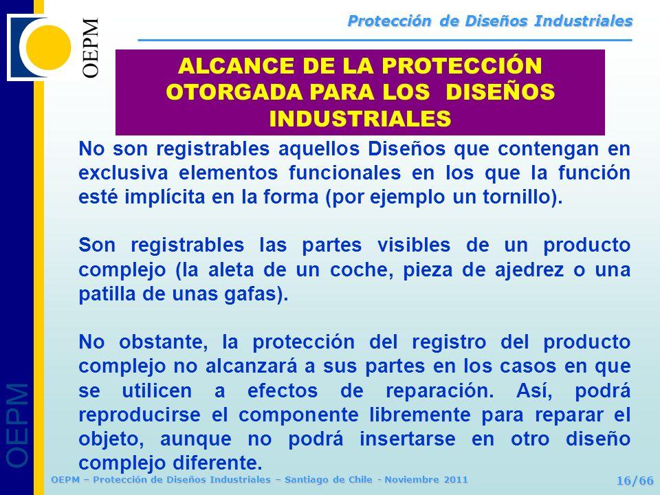 OEPM 16/66 Protección de Diseños Industriales OEPM – Protección de Diseños Industriales – Santiago de Chile - Noviembre 2011 ALCANCE DE LA PROTECCIÓN