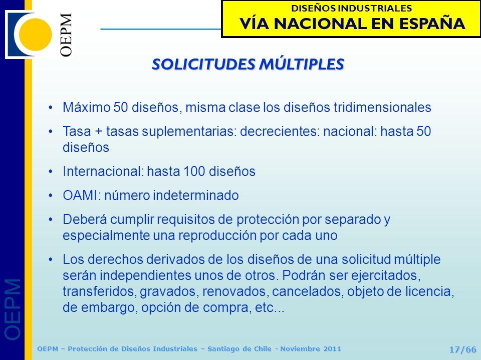 OEPM 17/66 Protección de Diseños Industriales OEPM – Protección de Diseños Industriales – Santiago de Chile - Noviembre 2011 Máximo 50 diseños, misma