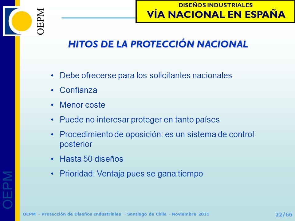 OEPM 22/66 Protección de Diseños Industriales OEPM – Protección de Diseños Industriales – Santiago de Chile - Noviembre 2011 Debe ofrecerse para los s