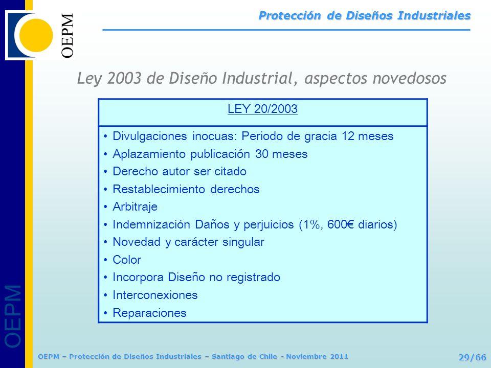 OEPM 29/66 Protección de Diseños Industriales OEPM – Protección de Diseños Industriales – Santiago de Chile - Noviembre 2011 Ley 2003 de Diseño Indust