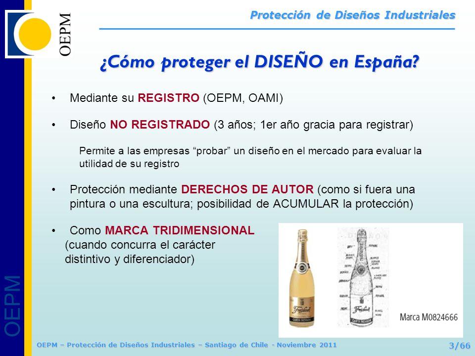 OEPM 3/66 Protección de Diseños Industriales OEPM – Protección de Diseños Industriales – Santiago de Chile - Noviembre 2011 Mediante su REGISTRO (OEPM