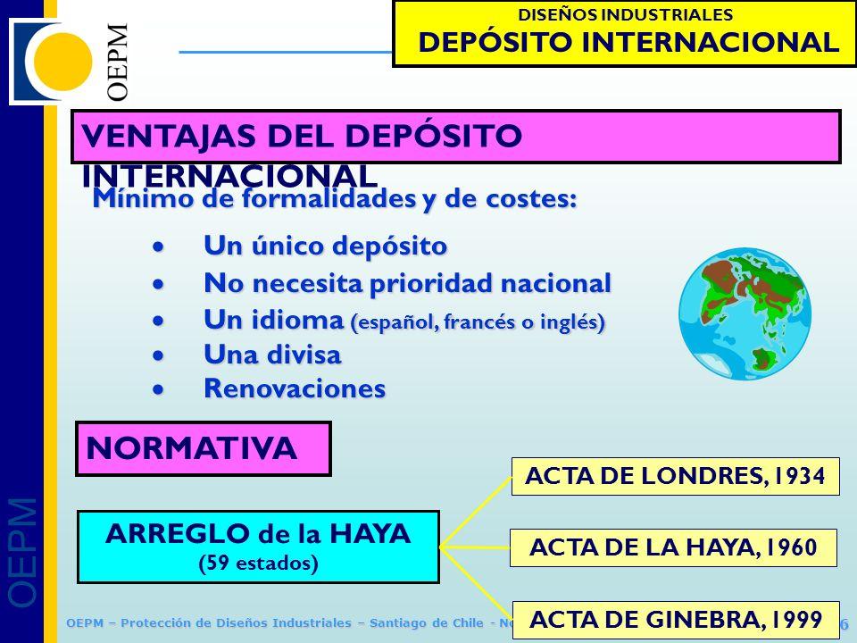 OEPM 34/66 Protección de Diseños Industriales OEPM – Protección de Diseños Industriales – Santiago de Chile - Noviembre 2011 DISEÑOS INDUSTRIALES DEPÓ