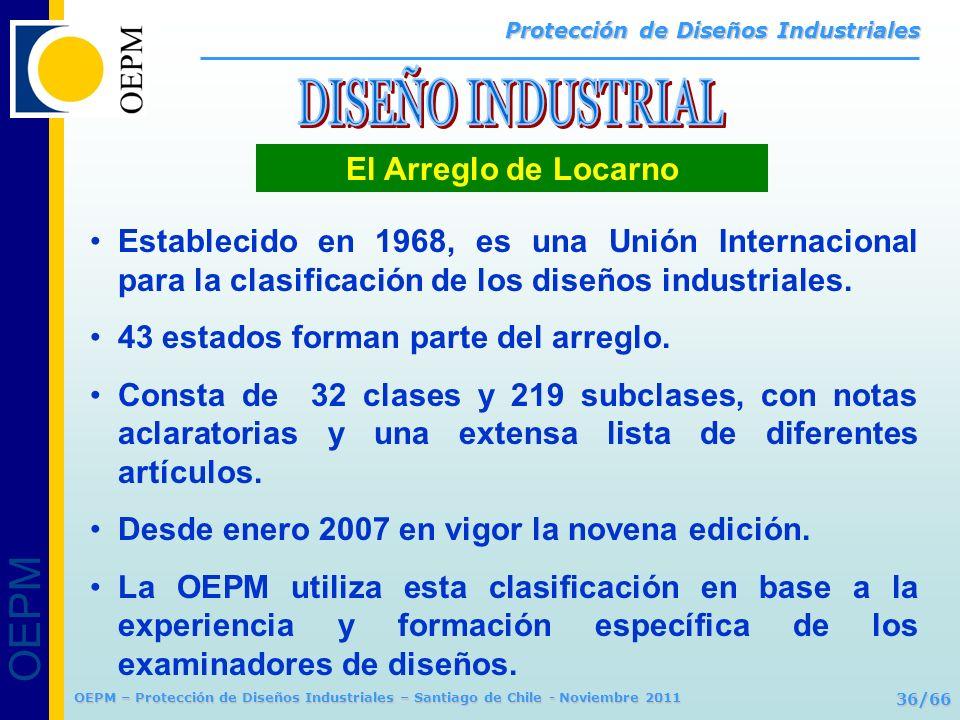 OEPM 36/66 Protección de Diseños Industriales OEPM – Protección de Diseños Industriales – Santiago de Chile - Noviembre 2011 El Arreglo de Locarno Est