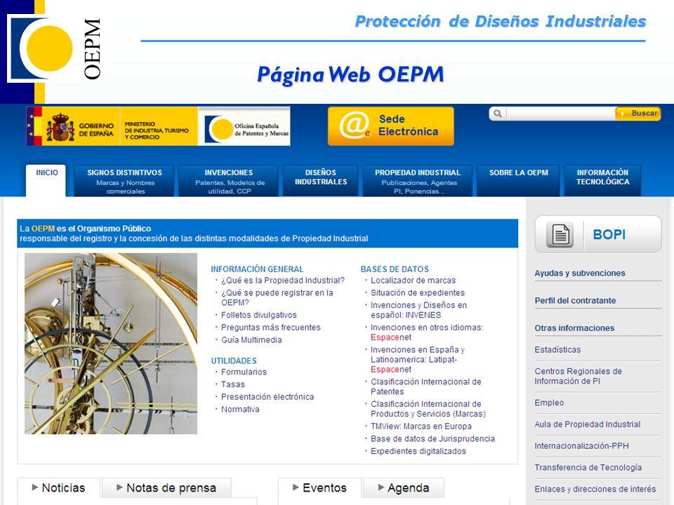 38/66 Protección de Diseños Industriales OEPM – Protección de Diseños Industriales – Santiago de Chile - Noviembre 2011 Página Web OEPM