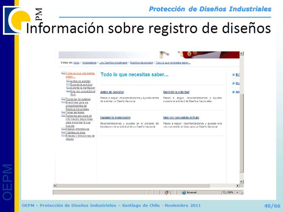 OEPM 40/66 Protección de Diseños Industriales OEPM – Protección de Diseños Industriales – Santiago de Chile - Noviembre 2011
