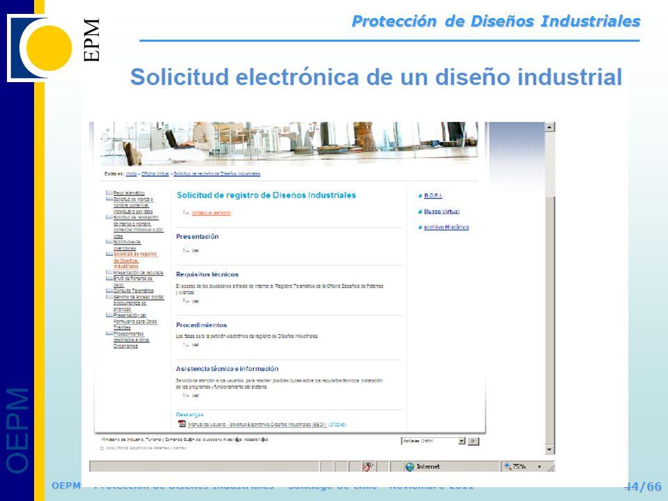 OEPM 44/66 Protección de Diseños Industriales OEPM – Protección de Diseños Industriales – Santiago de Chile - Noviembre 2011