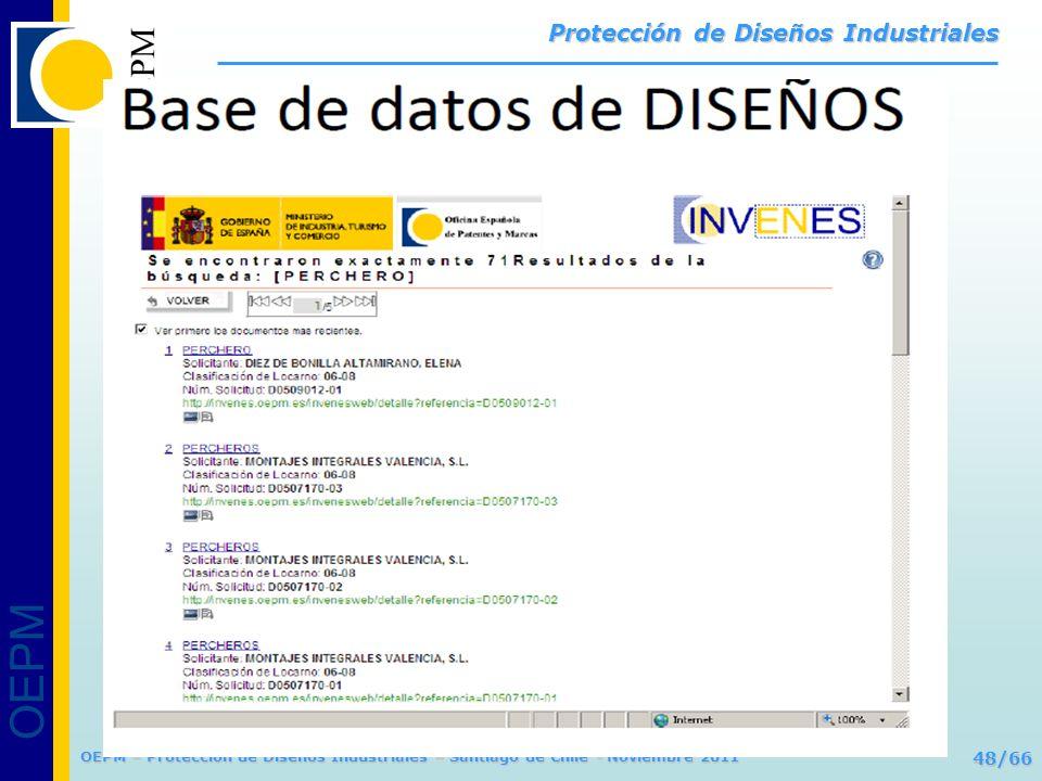 OEPM 48/66 Protección de Diseños Industriales OEPM – Protección de Diseños Industriales – Santiago de Chile - Noviembre 2011