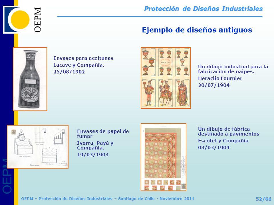 OEPM 52/66 Protección de Diseños Industriales OEPM – Protección de Diseños Industriales – Santiago de Chile - Noviembre 2011 Ejemplo de diseños antigu