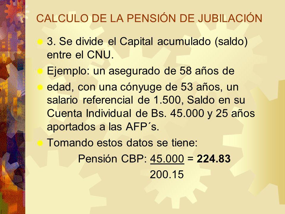 CALCULO DE LA PENSIÓN DE JUBILACIÓN 3. Se divide el Capital acumulado (saldo) entre el CNU. Ejemplo: un asegurado de 58 años de edad, con una cónyuge