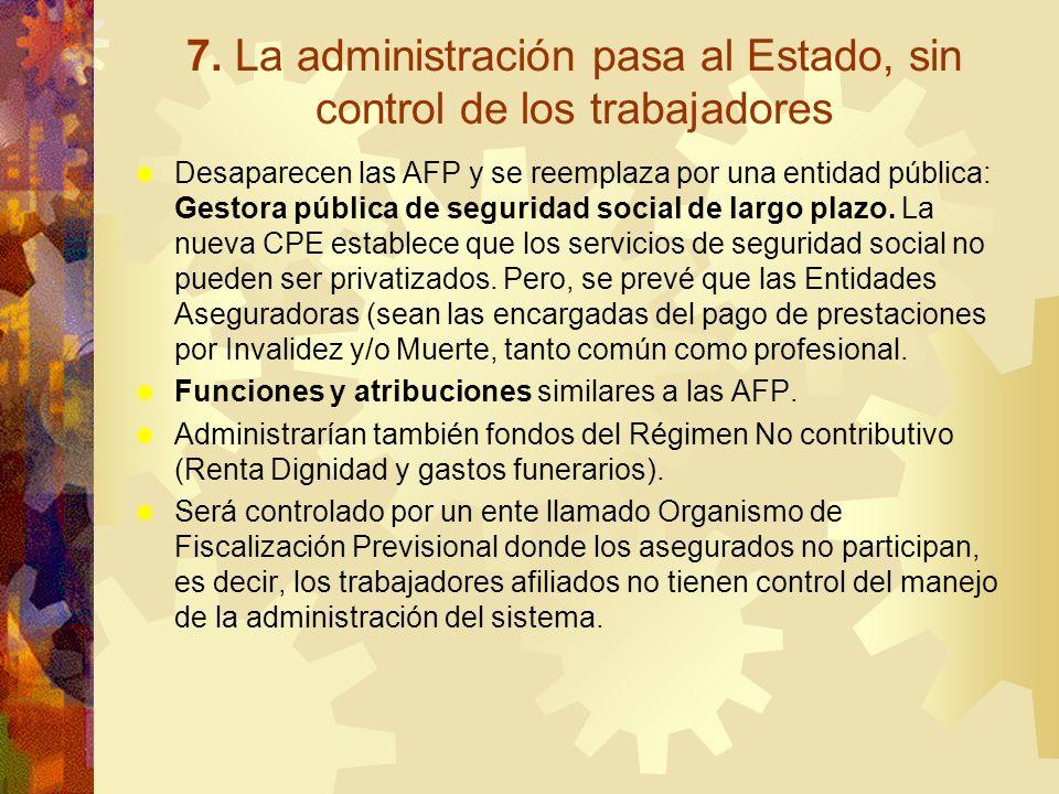 7. La administración pasa al Estado, sin control de los trabajadores Desaparecen las AFP y se reemplaza por una entidad pública: Gestora pública de se