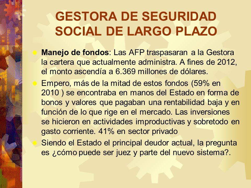 GESTORA DE SEGURIDAD SOCIAL DE LARGO PLAZO Manejo de fondos: Las AFP traspasaran a la Gestora la cartera que actualmente administra. A fines de 2012,