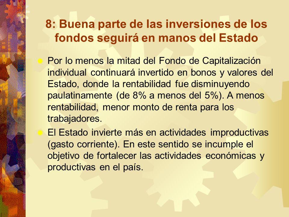 8: Buena parte de las inversiones de los fondos seguirá en manos del Estado Por lo menos la mitad del Fondo de Capitalización individual continuará in
