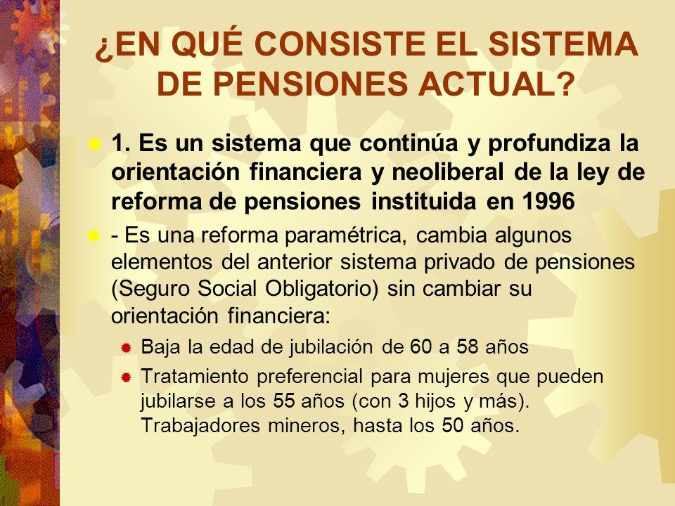 ¿EN QUÉ CONSISTE EL SISTEMA DE PENSIONES ACTUAL? 1. Es un sistema que continúa y profundiza la orientación financiera y neoliberal de la ley de reform