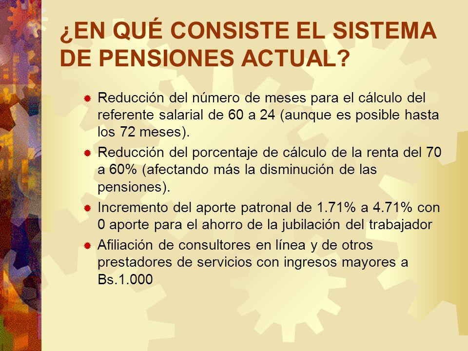 ¿EN QUÉ CONSISTE EL SISTEMA DE PENSIONES ACTUAL? Reducción del número de meses para el cálculo del referente salarial de 60 a 24 (aunque es posible ha