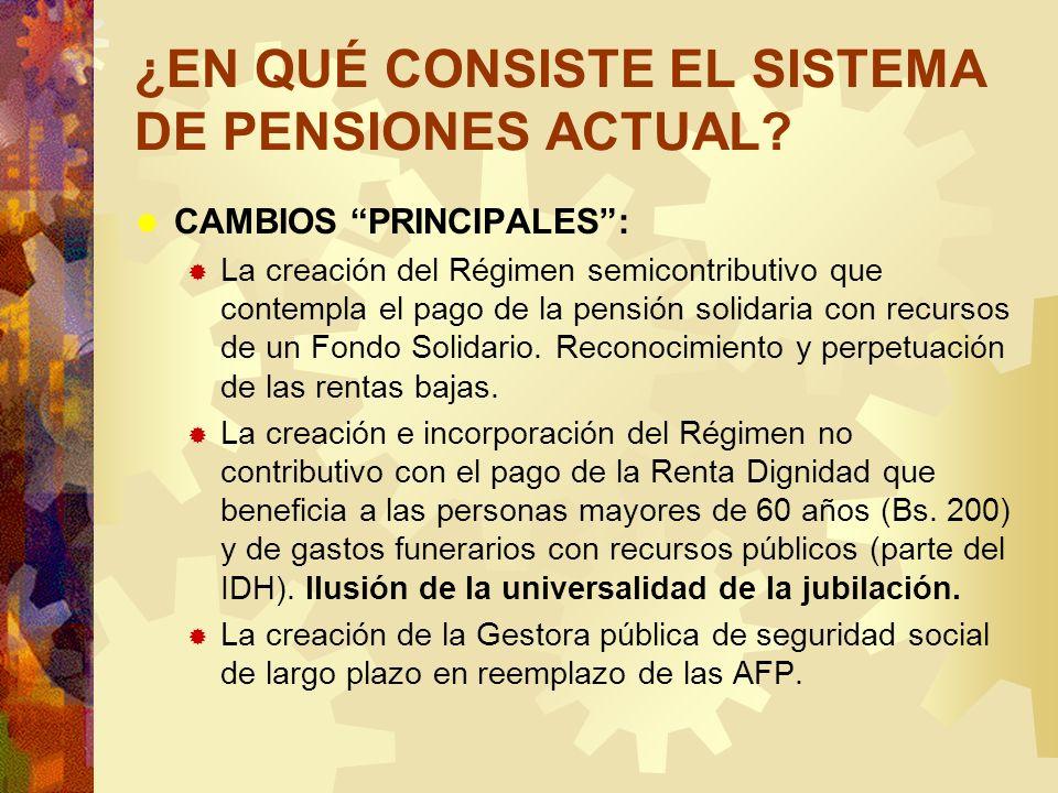 ¿EN QUÉ CONSISTE EL SISTEMA DE PENSIONES ACTUAL? CAMBIOS PRINCIPALES: La creación del Régimen semicontributivo que contempla el pago de la pensión sol