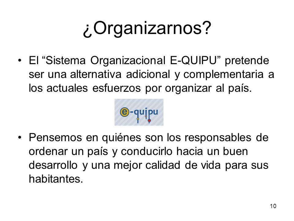 10 ¿Organizarnos? El Sistema Organizacional E-QUIPU pretende ser una alternativa adicional y complementaria a los actuales esfuerzos por organizar al