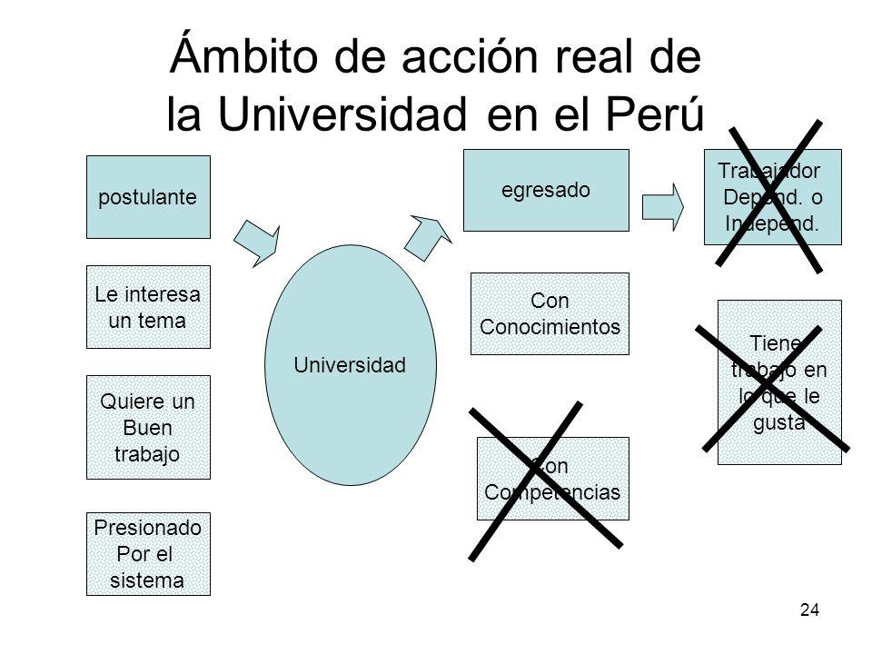 24 Ámbito de acción real de la Universidad en el Perú Universidad postulante egresado Trabajador Depend. o Independ. Le interesa un tema Quiere un Bue