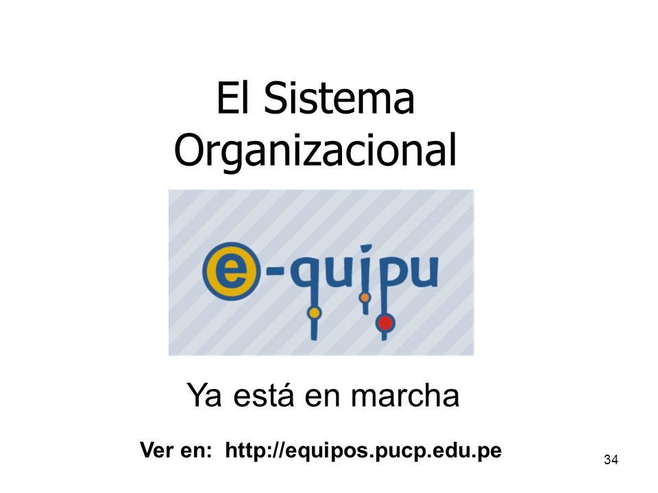 34 El Sistema Organizacional Ya está en marcha Ver en: http://equipos.pucp.edu.pe