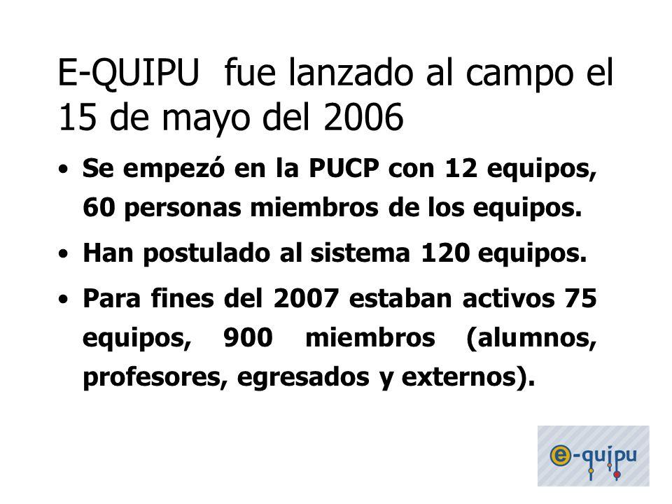 35 Se empezó en la PUCP con 12 equipos, 60 personas miembros de los equipos. Han postulado al sistema 120 equipos. Para fines del 2007 estaban activos