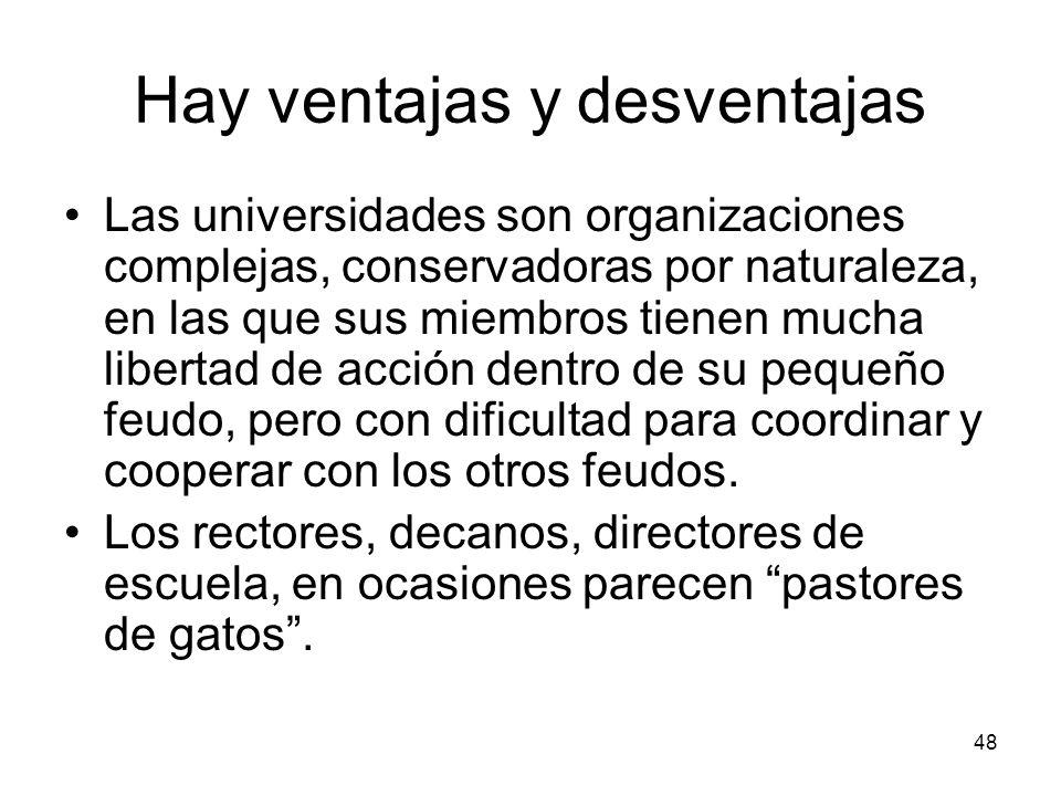 48 Hay ventajas y desventajas Las universidades son organizaciones complejas, conservadoras por naturaleza, en las que sus miembros tienen mucha liber