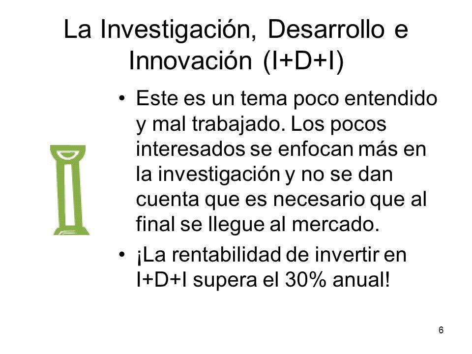 6 La Investigación, Desarrollo e Innovación (I+D+I) Este es un tema poco entendido y mal trabajado. Los pocos interesados se enfocan más en la investi