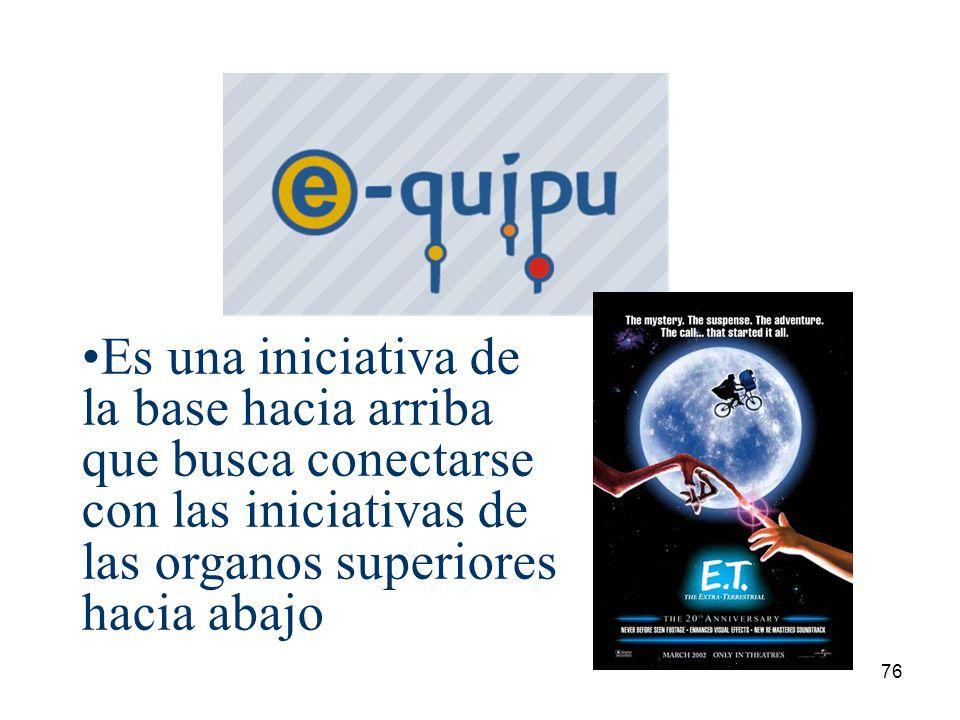 76 Es una iniciativa de la base hacia arriba que busca conectarse con las iniciativas de las organos superiores hacia abajo